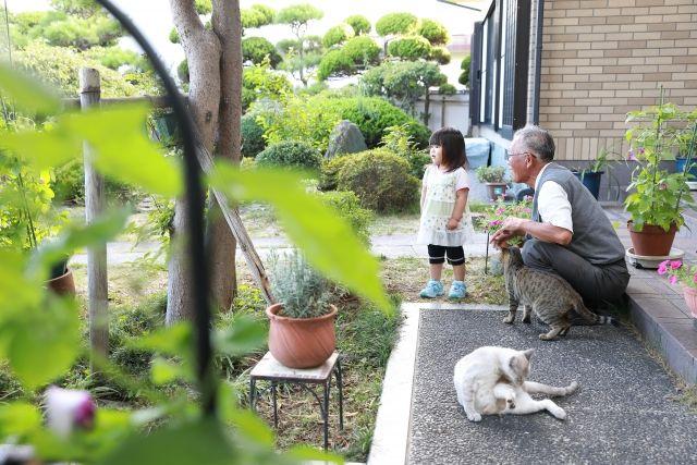 庭で寛ぐ家族